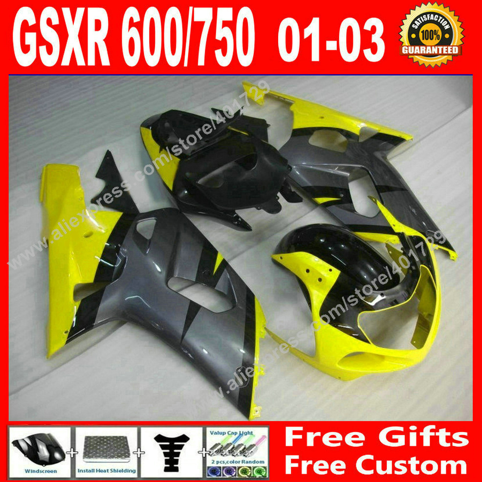 Hot sale Fairings for 2001 2002 2003 yellow gray bodywork SUZUKI GSXR 600 750 motocycle parts 01 02 03 fairing kits 7 gift JU97