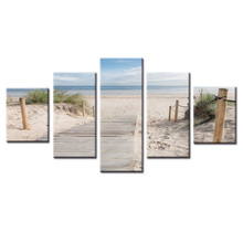 Framed 5 Panel Sea view series painting Wall Art Oil Painting On Canvas Printed Pictures Decor living room