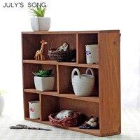 JULY'S SONG Wooden Storage Box Organizer 6 Grids Wall Mount Wood Crafts Show Case Home Decoration Home Storage Organization