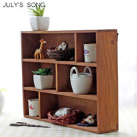 JULY'S SONG Wooden Storage Box Organizer 6 Grids Wall Mount Wood Crafts Show Case Home Decoration Home Storage Organization