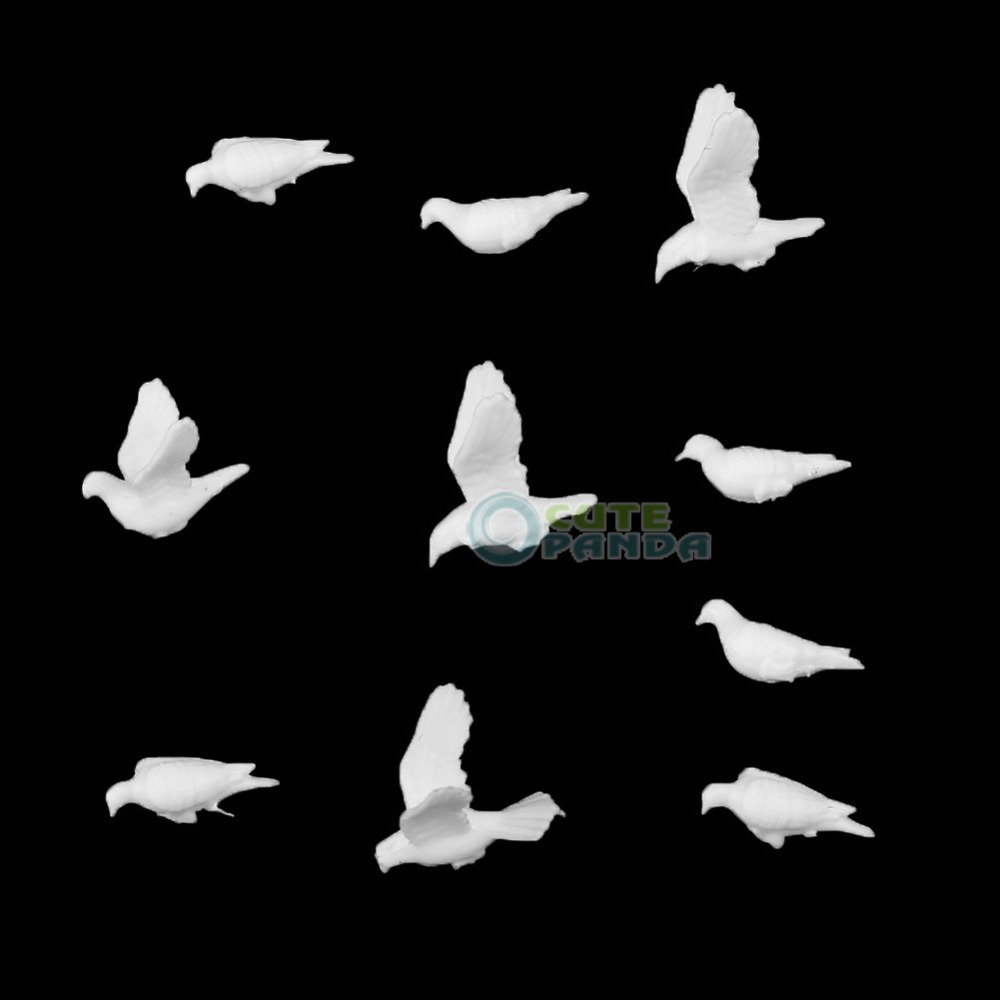 20pcs New Small Figure Toy Plastic Red-crowned Crane Or White Dove 1:75 Scale