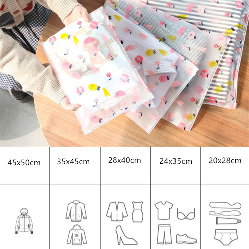 Travel Waterproof Clothing Storage <font><b>Bag</b></font> Scrub Luggage Clothes Ziplock <font><b>Bag</b></font> <font><b>Transparent</b></font> <font><b>Cosmetic</b></font> Pink Fruit Shoe <font><b>Bag</b></font> image