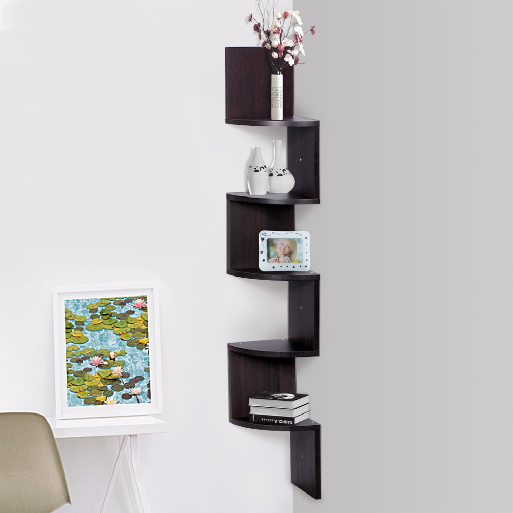 Finether Floating Wall Corner Shelf Unit Wall Mounted Shelving Bookcase Storage Display
