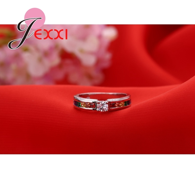 Fashion 925 Sterling Silver Hot Sale Rainbow Engagement Promise Rings For Women High Quality Austrian Rhinestone Jewelry 2