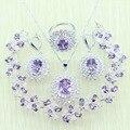 Reginababy Amethyst Púrpura de Cristal de circón Blanco de Plata color de La Joyería Para Las Mujeres Pulseras/Collar/Pendientes/Anillo/colgante
