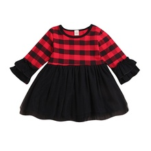 0-6Y Baby Kids Girls Dress Plaid and Yarn Element Long Sleeve Outfit Dress цены онлайн