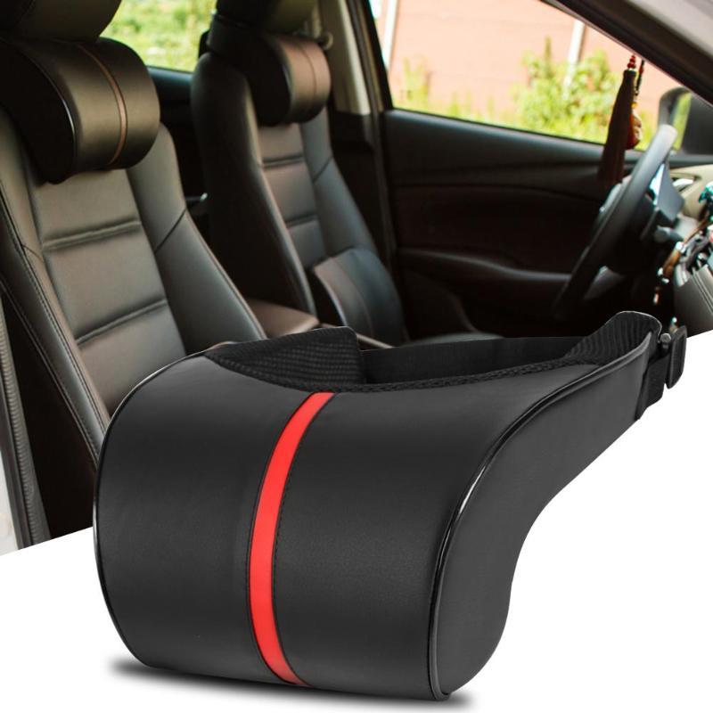 1PCS PU Leather Auto Car Neck Pillow Memory Foam Pillows Neck Rest Seat Headrest Cushion Pad Black Color High Quality