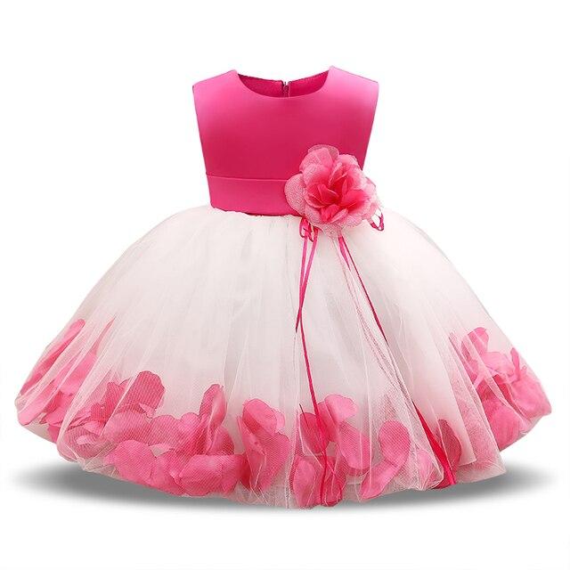 Vestidos de Fiesta de bebé de flores 1st 2nd cumpleaños traje vestido recién nacido bebé niña ropa de bautismo tutú bautizo vestido de boda