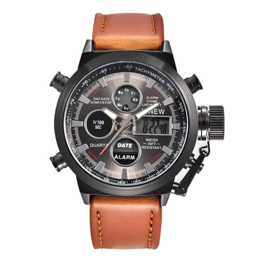 Fuseau horaire #503 montre pour hommes militaire Quartz Sport armée montres LED analogique en acier inoxydable montre-bracelet