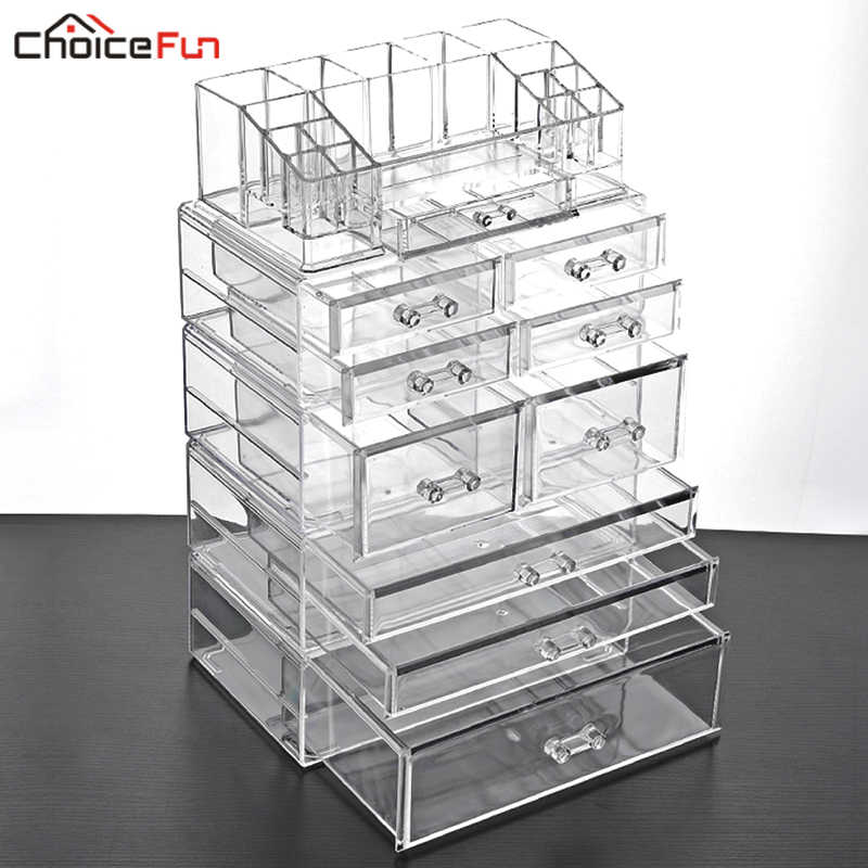 CHOICE FUN Large 9 Drawer Plastic Bathroom Desktop Lipstick Box Case Big Clear Acrylic Storage Cosmetic Organizer For Makeup