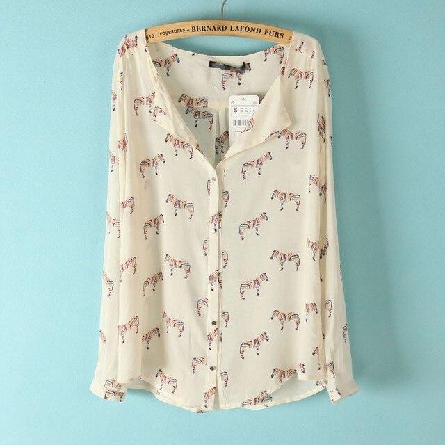 Mulher moda cor Zebra Prints Turn down Collar mangas longas blusa Ladies Shirts 3040100703