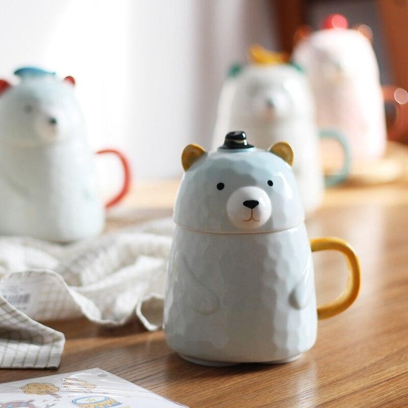 Creative Cartoon Ceramic Mug Bear Shaped Coffee Cups with Lid Handgrip Cute Milk Mugs Home Office Cups Drinkware Lovely Gift