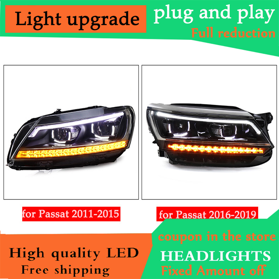 D YL Car Styling for VW Passat B7 Headlights 2011 2019 2015 2018 America Passat CC