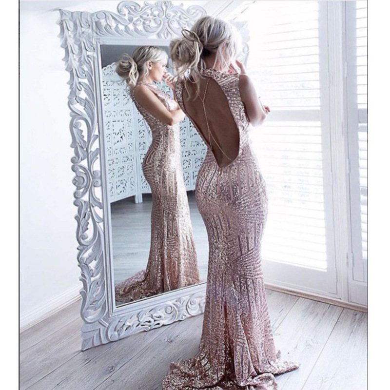 Sweep Train Vestidos Prom 2019 Sexy Backless Sequin Party Gala Dress TVdaily Mermaid Prom Dress