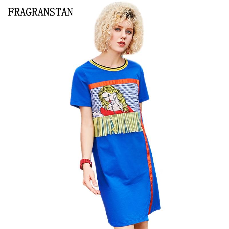 2018 Female Spring Summer O Neck Short Sleeve Dress Women Fashion Girl Print Blue Dresses High