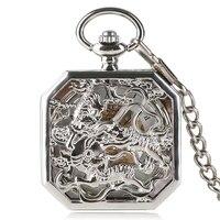 Steampunk Clock Vintage Pocket Watch Mechanical Hand Wind Pocket Watch Men Tiger Carving Copper Silver Skeleton for Men Women
