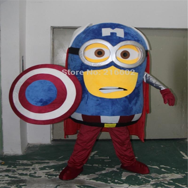 cosplay kostymer kapten Amerika specialtillverkad vuxen Minion maskot kostym