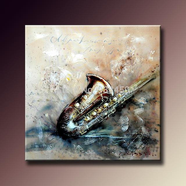 Abstraite moderne instrument de musique toile peinture for Materiel peinture a l huile