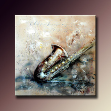 Handmade abstract acrylic paintings on canvas musical instrument oil painting, wall art painting for home decoration