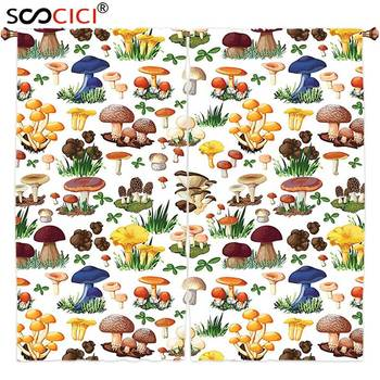 Window Curtains Treatments 2 Panels,Mushroom Decor Pattern with Types of Mushrooms Wild Species Organic Natural Food from