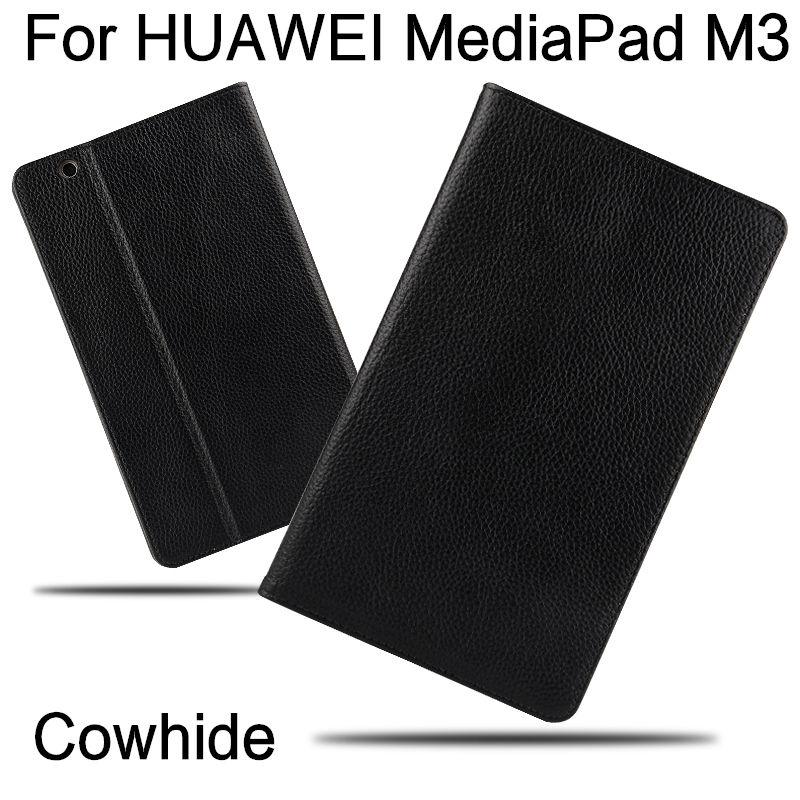 Prix pour Cas de Vache Pour Huawei MediaPad M3 Smart cover Véritable En Cuir Comprimés De Protection 8.4 pouce Pour HUAWEI M3 BTV-W09/DL09 Protecteur