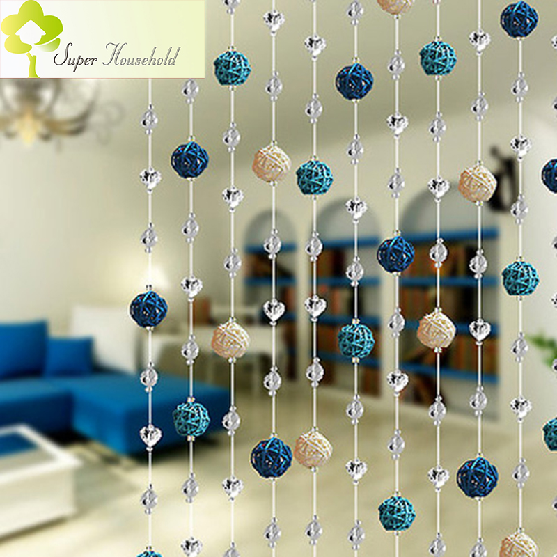 DIY Rattan Ball Crystal Bead Curtain Decorative Door Curtains Beads Room Divider Window Shutters Roller Door Passage Backdrop