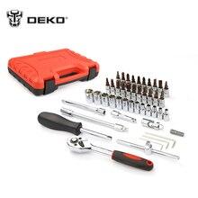 DEKOPRO 46pcs Auto Repair Tool Combination Package Socket Wrench Woodworking Hand Tools Set
