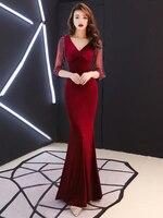 Red Shiny Sequins Applique Navy Evening Dress Side Split Mermaid Three Quarter Sleeves Transparent Vestido De Noche Con Cristal