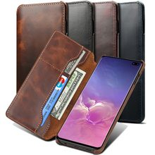 For Samsung S10+ S9 Plus S10e Note 9 8 Flip Case Genuine Real Cow Leather Cowhide Card Wallet Purse Cover Etui Handy Hulle Coque(China)
