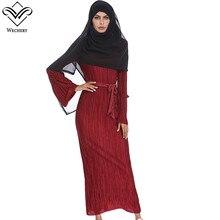 da529a728264c Wechery الحجاب اللباس النساء التجاعيد طويل فساتين الإسلامية نمط ضئيلة  الأزياء العباءة الملابس الأسود الأحمر الوردي