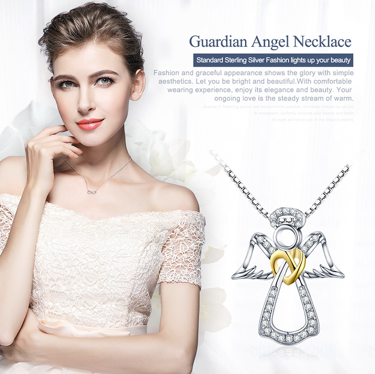 HTB1WJBbdeEJL1JjSZFGq6y6OXXai BAMOER Authentic 925 Sterling Silver Guardian Angel Heart Pendant Necklaces Dazzling CZ Luxury Sterling Silver Jewelry SCN123
