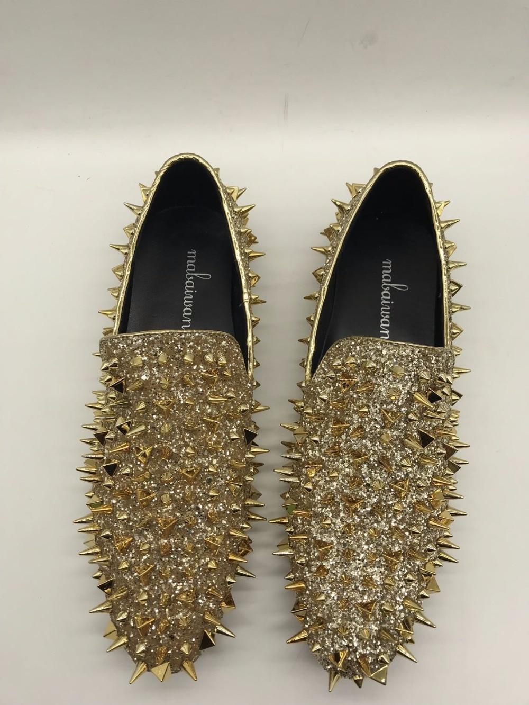 Glitter ouro Couro Preto De À Da Dourado Sapatos Mão Loafers Homens Mocassins Picos Feitos Vestido Mabaiwan Rebites Chinelo Do Flats Casamento Moda Deslizar Sobre Ouro Bgy8STZS