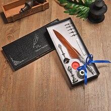 1 set נוצה לטבול מתכת עט נובע קליגרפיה נוצת בציר נוצת עט סט עט כתיבה עבור בית הספר ומשרד 5 ציפורן