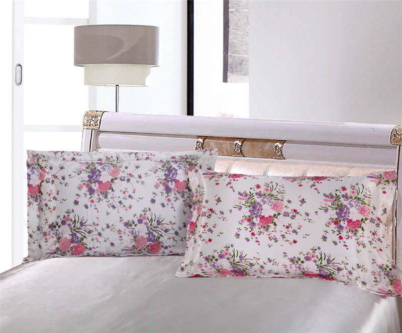 Satén de seda edredón cubre colchas Twin full Queen King Size dormitorio decoración rosa flor púrpura niñas inicio - 2