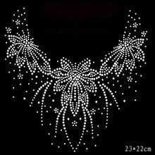 Hot Fix Rhinestones Flower motif crystal Heat Transfer design iron on clothes  T Shirt dance dress f5cc4660d49b