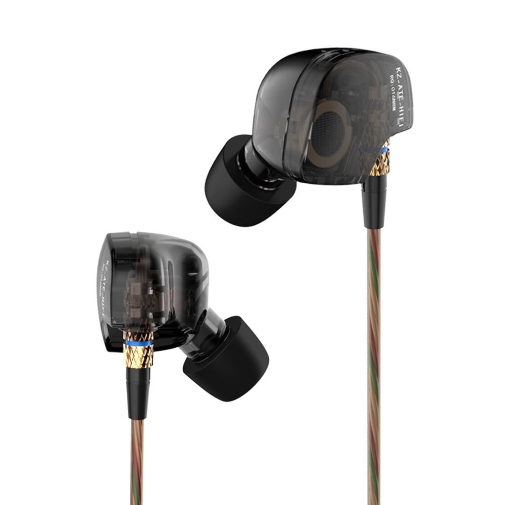 KZ ATE ATR Copper Driver Ear Hook HiFi 3.5mm in Ear Earphone Noise Cancelling Earphones with Foam eartips with Microphone