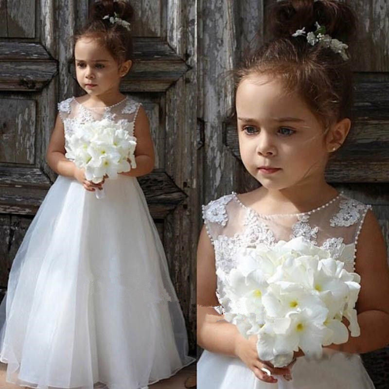 New White Little Girls Birthday Dress Lace Pearls Tulle O Neck Ankle Length Flower Girl Dress for Wedding Pageant Gown white casual round neck ruffled dress