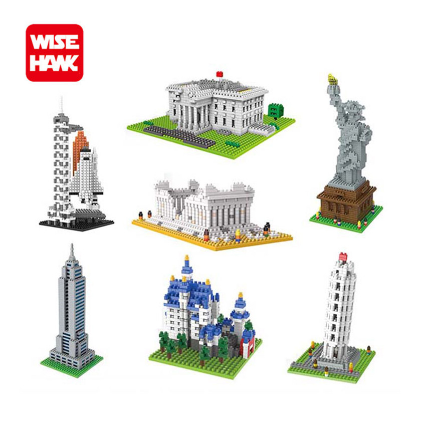 WiseHawk New Arrival World Famous Architecture Nanoblock Statue Of Liberty Plastic Construction Micro Bricks Educational Kid Toy