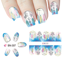 Buy fantasy nails and get free shipping on aliexpress dream catcher transfer water decals 1 small sheet feather decorative nail sticker fantasy nail art tattoo prinsesfo Choice Image