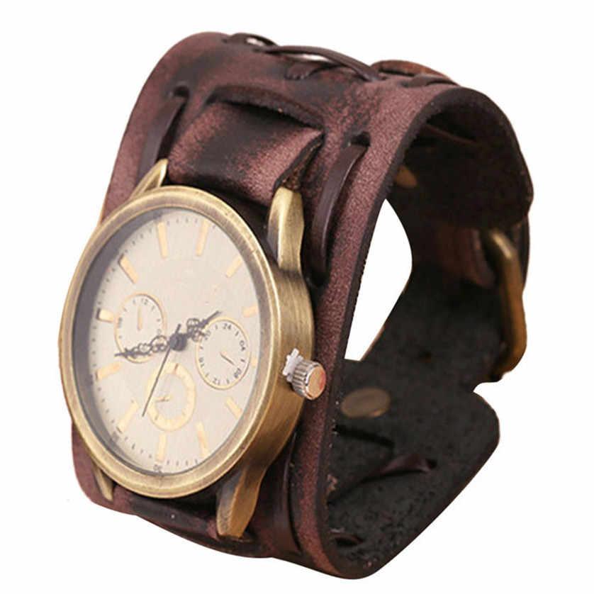 2017 Новый стиль ретро панк Рок коричневый большой широкий кожаный браслет манжета мужские часы классный хороший дизайн для идеального подарка