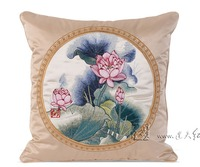 Home Decoration Lotus Linen Cotton Throw Pillow Car Back Cushion Square 45 45cm Retro Plant Embroidered