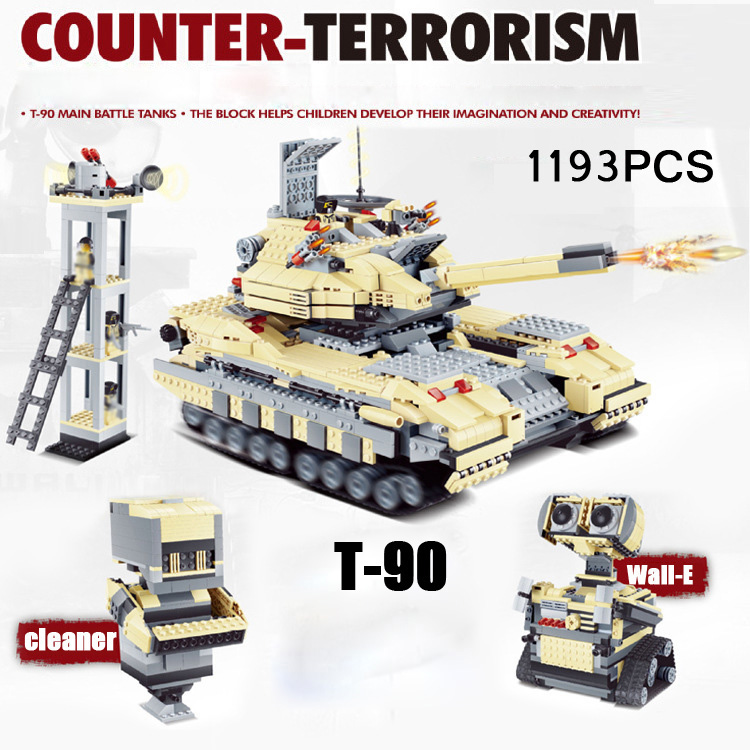 цена на Hot modern military 3in1 Russian T-90 main battle Tank building block model Army bricks Wall-E robot toys collection