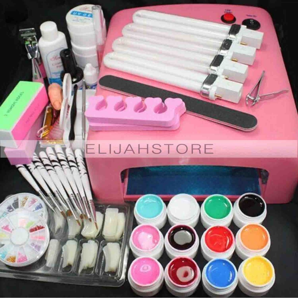 New 36W LAMP 12 Color UV GEL + Clear Nail brushes False Finger Cutter Nail Art Tool Kit Sets Manicure Set for beginners best price mgehr1212 2 slot cutter external grooving tool holder turning tool no insert hot sale brand new