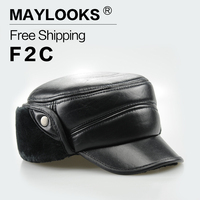 CS05 Genuine Leather Bomber Cap Hat Men S Brand New Sheepskin Leather Army Military Hats Caps
