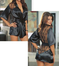 Bathrobe Perspective Night-gown Pajamas Satin Lingerie Nightwear