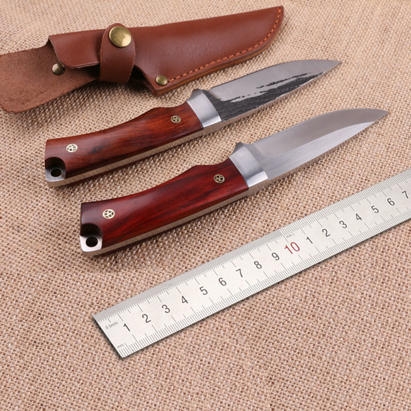 Free shipping Handmade 440C steel Hunting Knife Camping Survival Knife Fixed Blade Tactical Knife wood handle