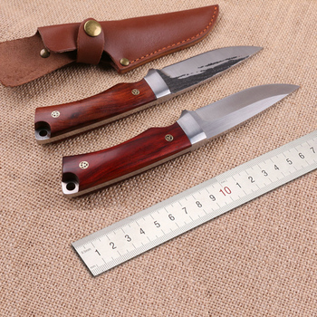 Free shipping Handmade  440C  steel Hunting Knife Camping Survival Knife Fixed Blade Tactical Knife  wood handle hx outdoors survival fixed knife bamboo handle camping knife black blade saber tactical tools cold steel hunting straight knife