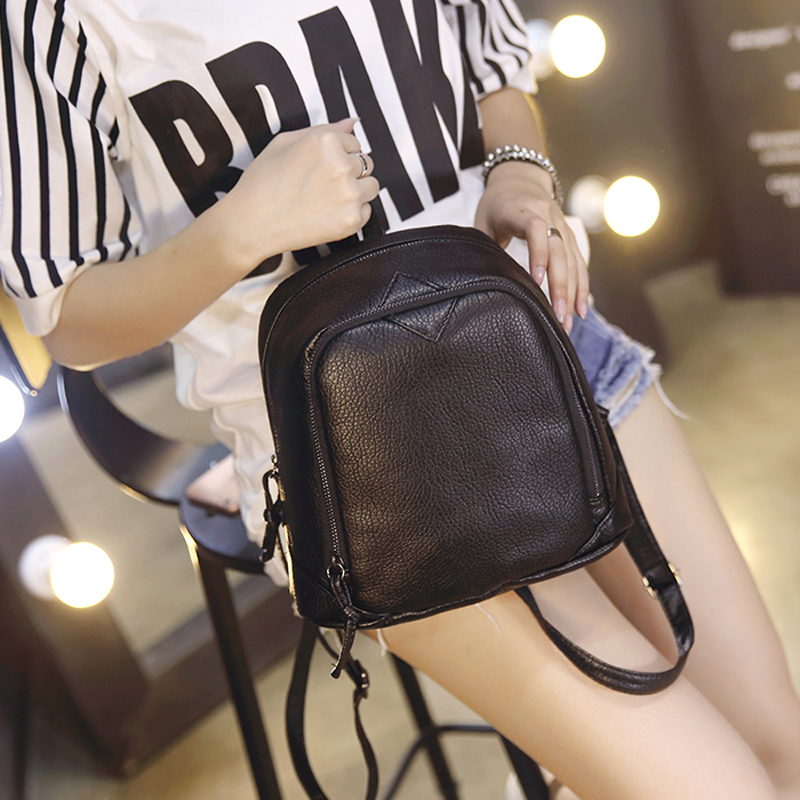 The new Korean version of the influx of small fresh college mini shoulder bag soft pu candy color small backpack female bag peppa pig пакет подарочный пеппа и ёлка 35 см х 25 см х 9 см