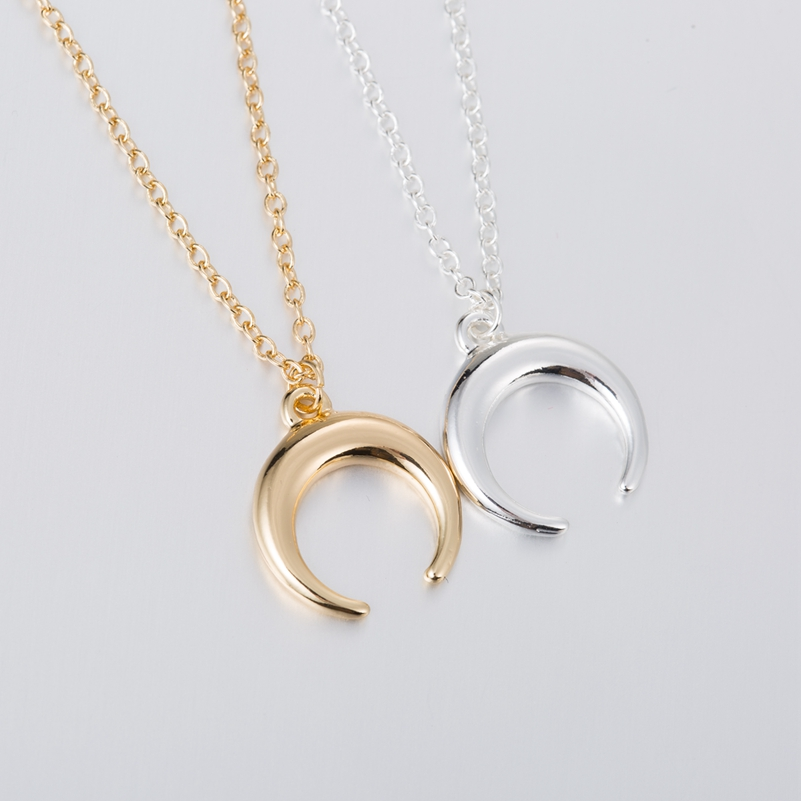 ALI shop ...  ... 32840292004 ... 3 ... SMJEL Silver Color Curved Cresent Moon Horn Pendant Necklaces Women Moon Gothic Handmade Necklace Choker Collier femme Jewelry  ...