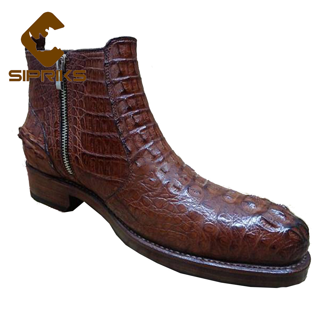 Sipriks mens bespoke Goodyear boots unique black crocodile skin zipper boots alligator skin leather boots brown